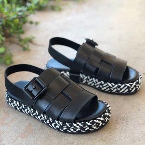 ALLSAINTS Black Leather Botan Slingback Sandal